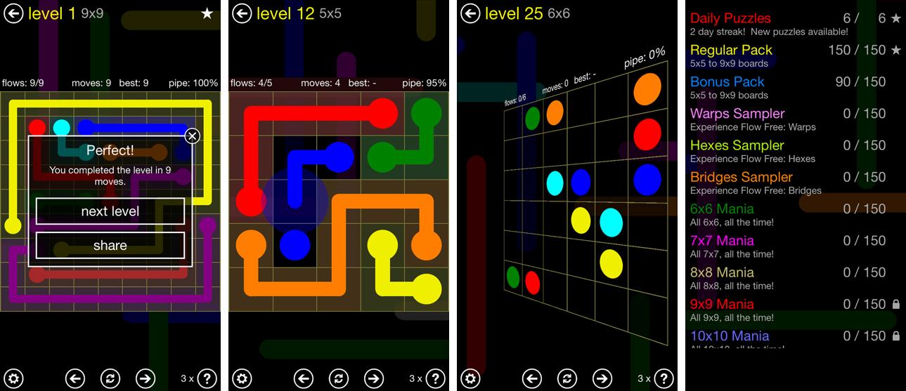 نمای بازی flow free در ایفون